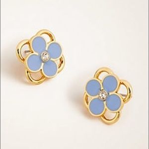 Ann Taylor Blue Gold Clover Stud Earrings